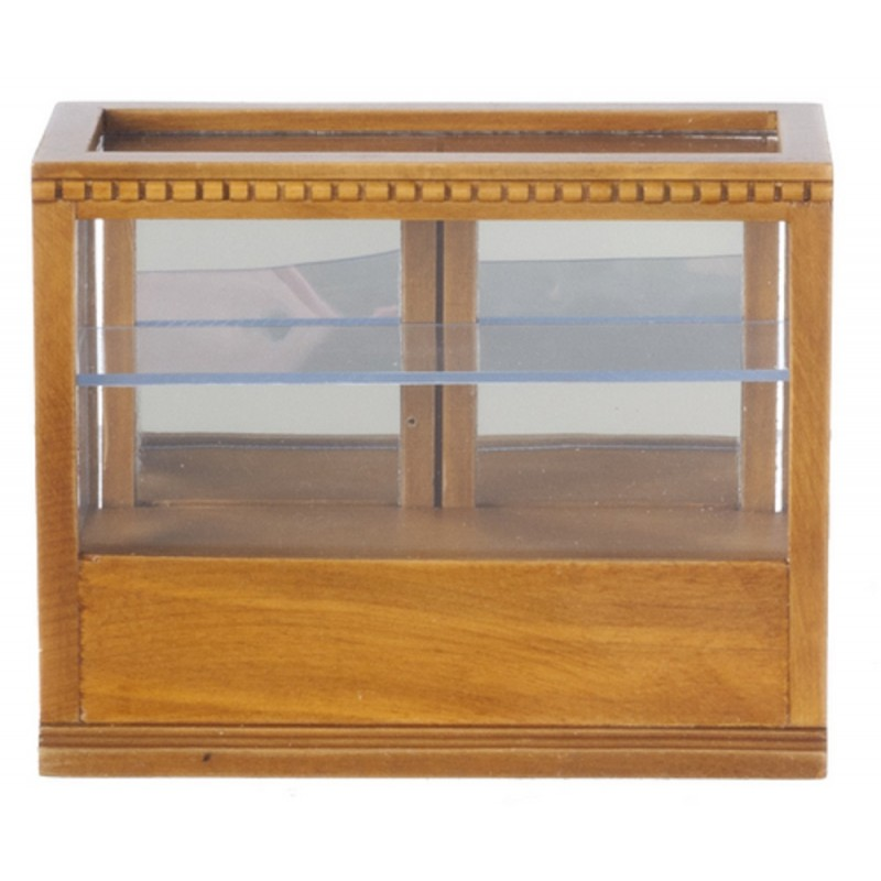 Dolls House Display Counter Cabinet Walnut Shop Fittings Store Furniture 1:12