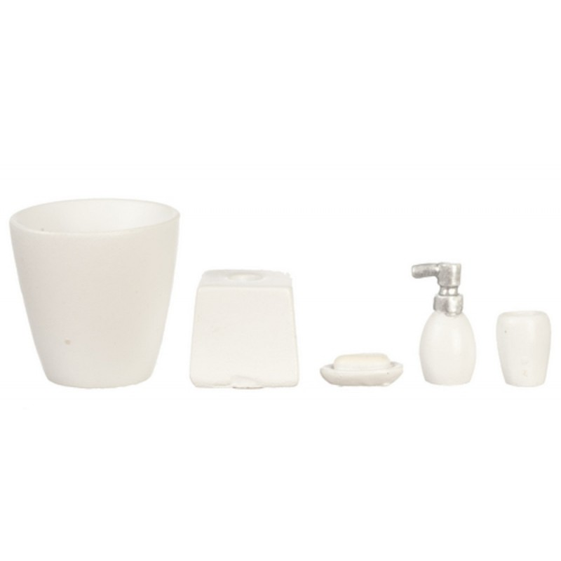 Dolls House Miniature Modern White Bathroom Accessory Set Bin Soap Tumbler 5 pc