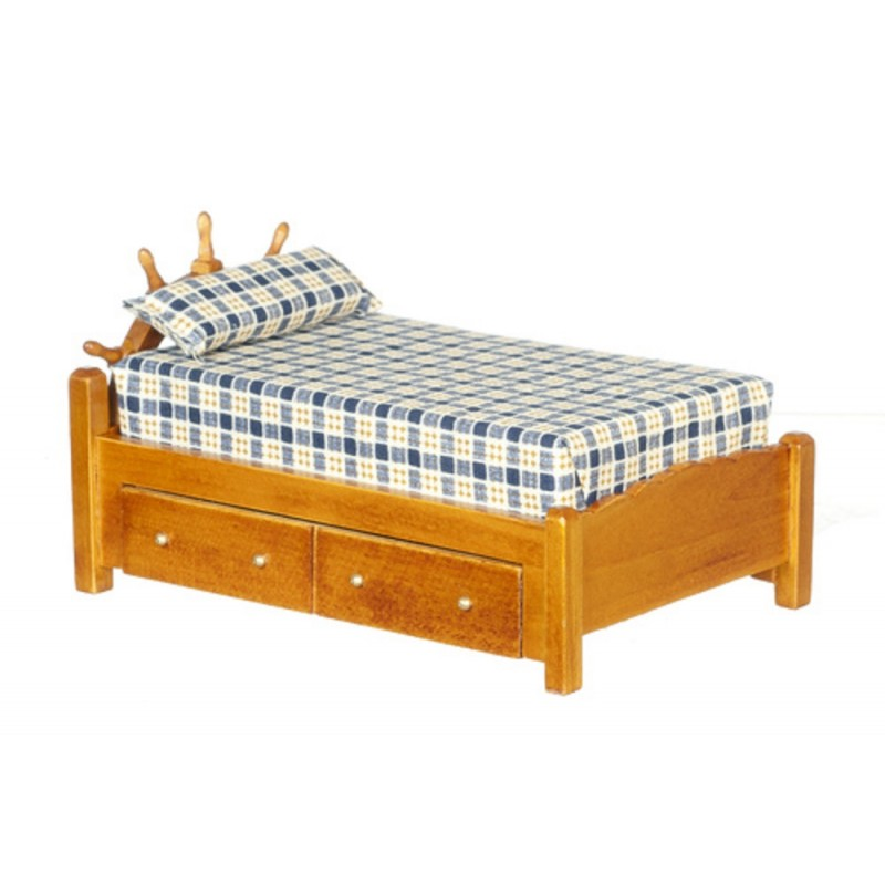 Dolls House Miniature Bedroom Furniture Walnut Wood Captains Single Bed