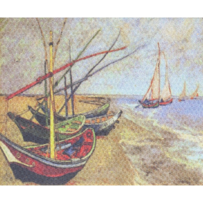 Dolls House Miniature Van Gogh Fishing Boats Picture Painting Canvas
