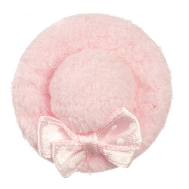 Dolls House Miniature Shop Girls Lady`s Accessory Pink Velvet Hat with Bow