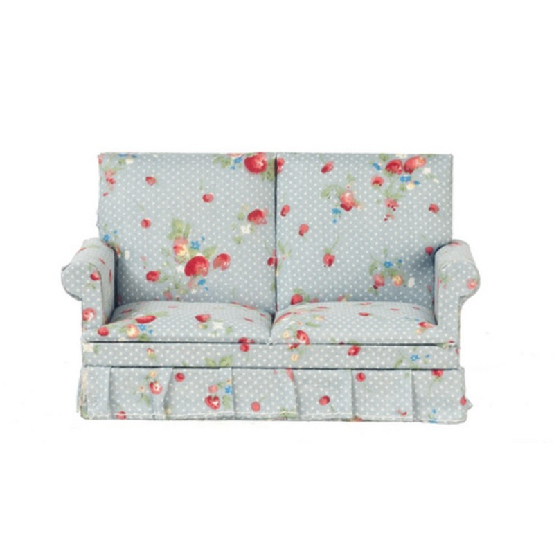 Dolls House Blue Grey Chintz Loveseat 2 Seater Sofa 1:12 Living Room Furniture