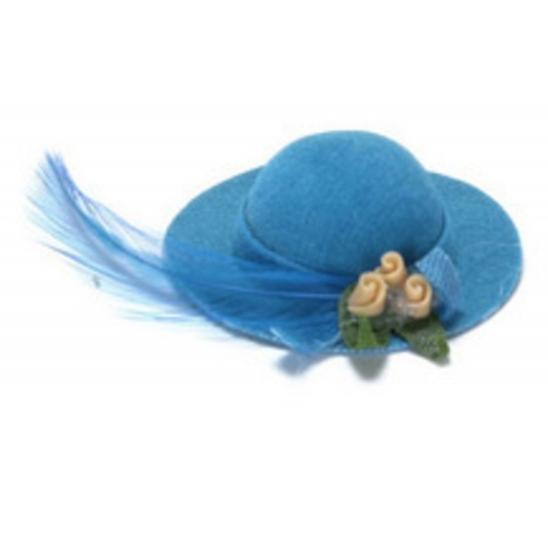 Dolls House Miniature Accessory Turquoise Lady's Hat 81