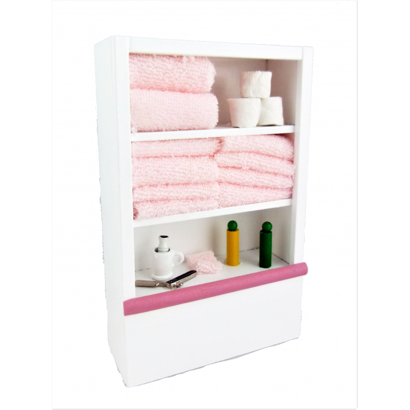 Dolls House Miniature 1:12 Scale Furniture White Wooden Bathroom Shelf Unit and Accessories Pink