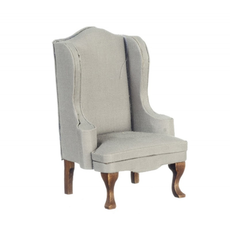Dolls House Grey & Walnut Wing Armchair Miniature Gray Living Room Furniture