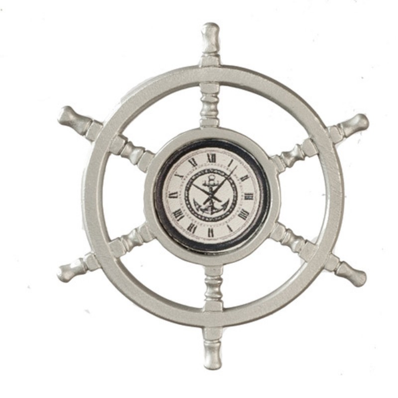 Dolls House Ship Helm Wheel Wall Clock Miniature 1:12 Nautical Accessory Metal