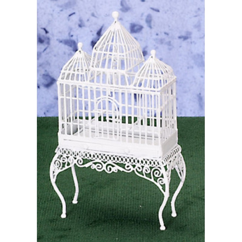 Dolls House White Turret Bird Cage Miniature Pet Accessory Wrought Iron Birdcage