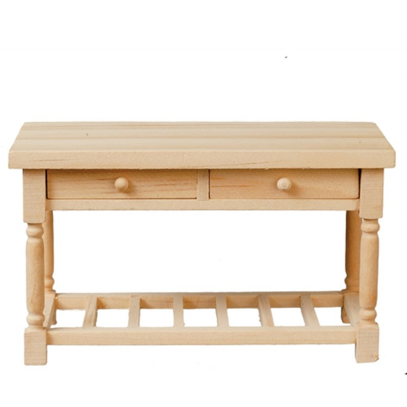 Dolls House Kitchen Table Work Bench Miniature Unfinished Bare Wood Furniture