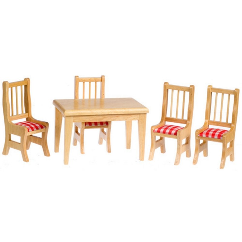 Dolls House Oak Table & Chairs Red Gingham Miniature Dining Room Furniture Set