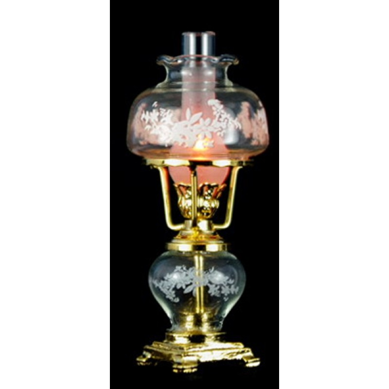 Dolls House Fancy Victorian Oil Lamp Gold Etched Glass Shade Electric Lighting