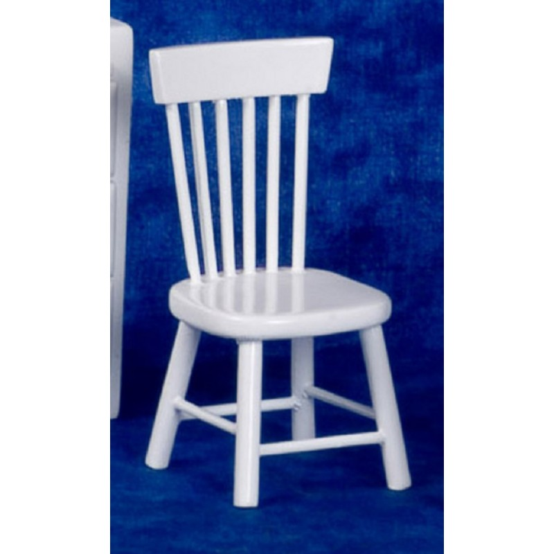 Dolls House White Spindle Back Side Chair Miniature Kitchen Dining Furniture