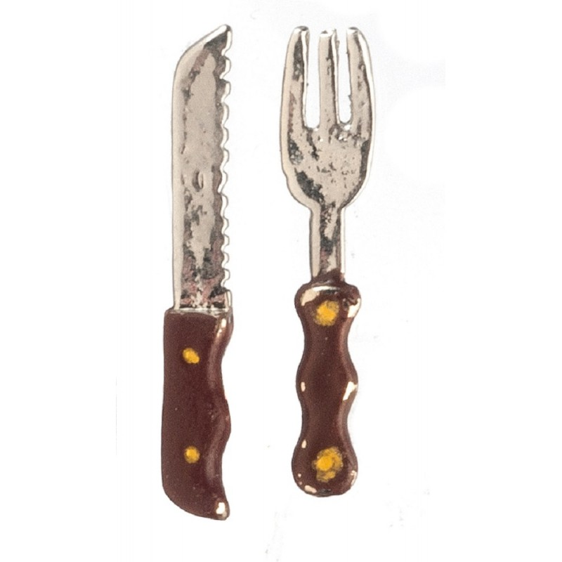 Dolls House Carving Knife & Fork Set Miniature Dining Room Kitchen Accessory