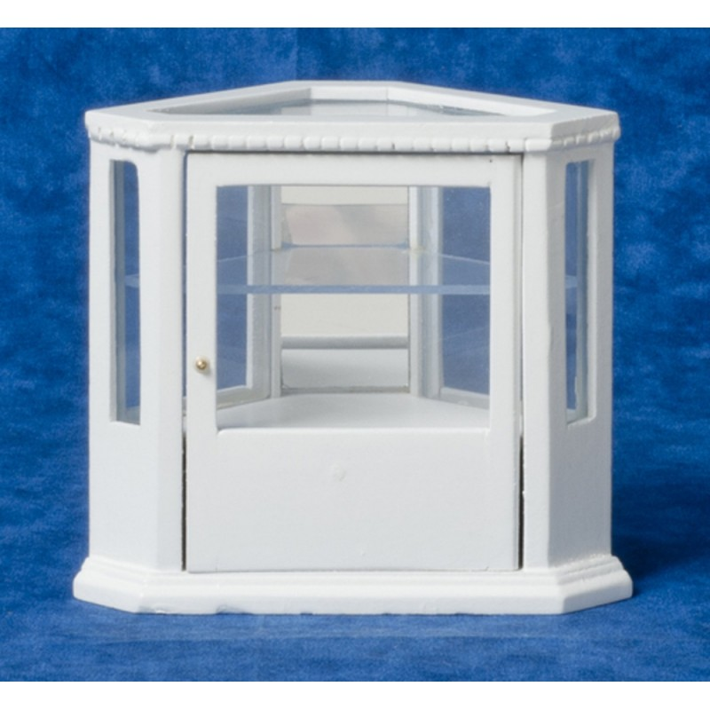 Dolls House Miniature Furniture White Wood Corner Display Cabinet Counter 5445