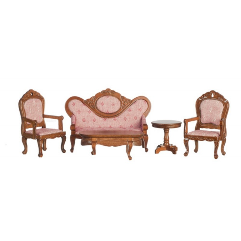 Dolls House Victorian Walnut & Pink Living Room Furniture Set 1:12 Miniature