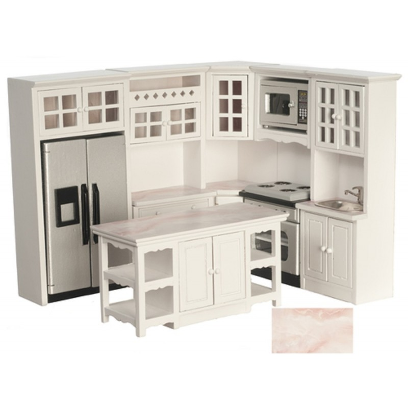 Dolls House Modern Fitted Kitchen Furniture Set Pink Marble Effect Worktops 8pc