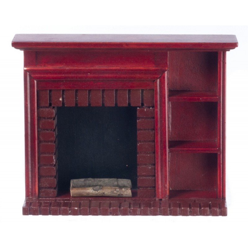 Dolls House Mahogany Fireplace with Display Shelves Miniature 1:12 Furniture