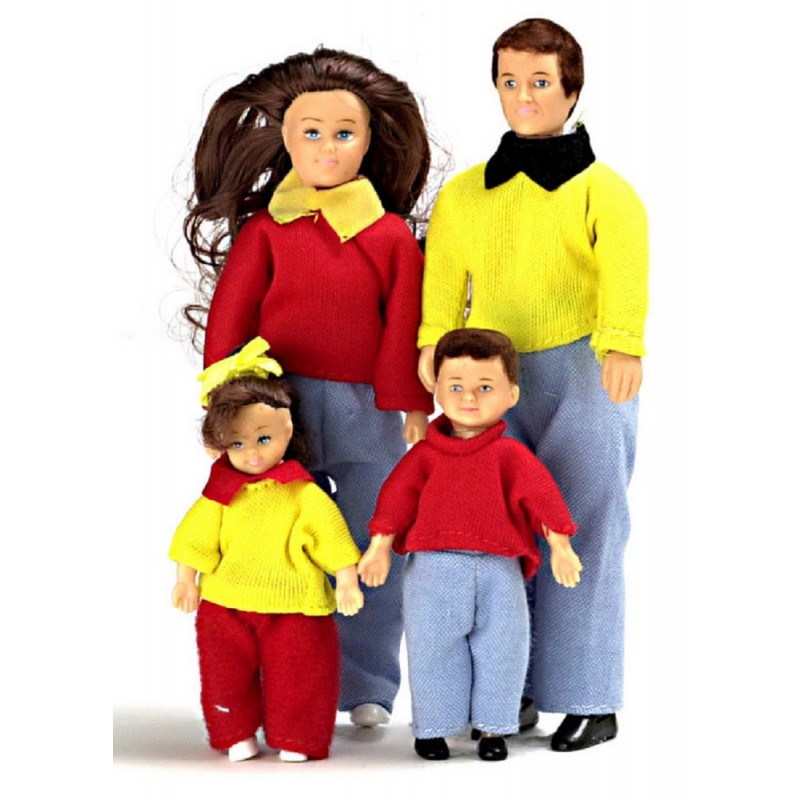 Dolls House Miniature 1:12 Scale Modern Family of 4 People Mum Dad Children