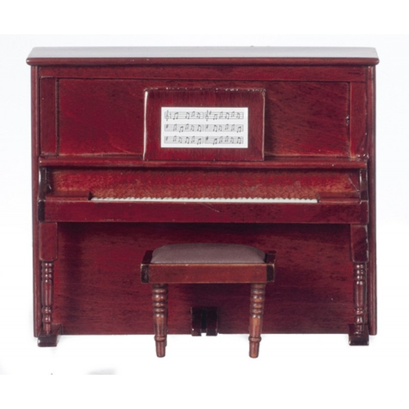 Dolls House Mahogany Upright Piano and Bench Miniature Music Room Furniture
