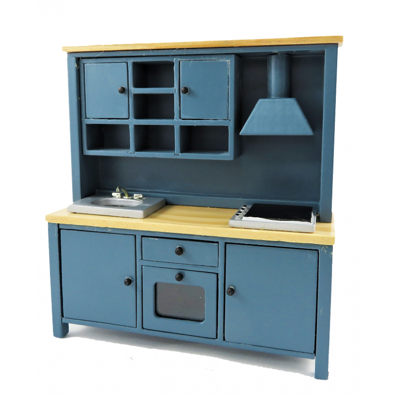 Dolls House Complete Modern Kitchen Unit with Sink Oven & Hob Blue & Pine