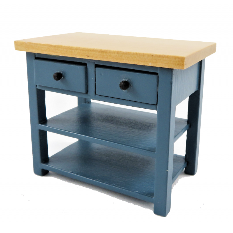 Dolls House Blue & Pine Island Work Table Modern Miniature Kitchen Furniture