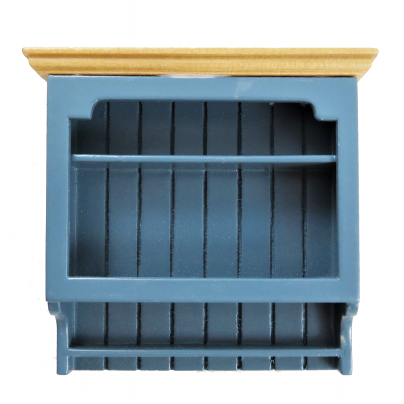 Dolls House Blue & Pine Wall Shelf Unit Modern Miniature Kitchen Furniture