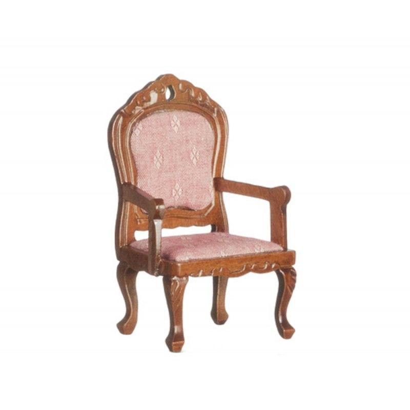 Dolls House Walnut & Pink Fauteil Armchair Victorian Living Room Furniture