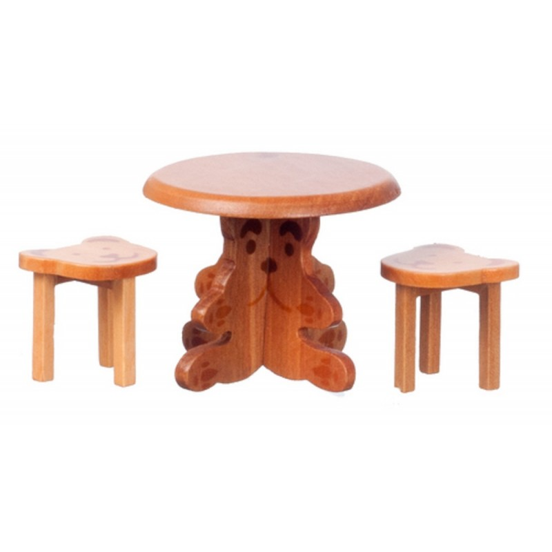 Dolls House Teddy Bear Table & Stools Walnut Miniature School Nursery Furniture