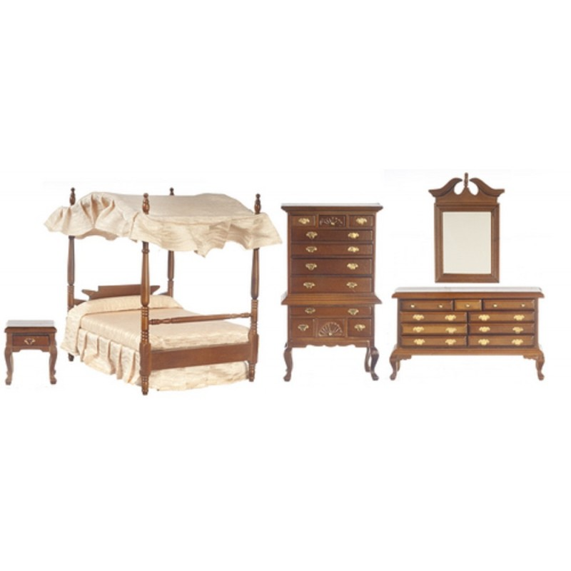 Dolls House Walnut Victorian Bedroom Furniture Set with Canopy 4 Poster Bed