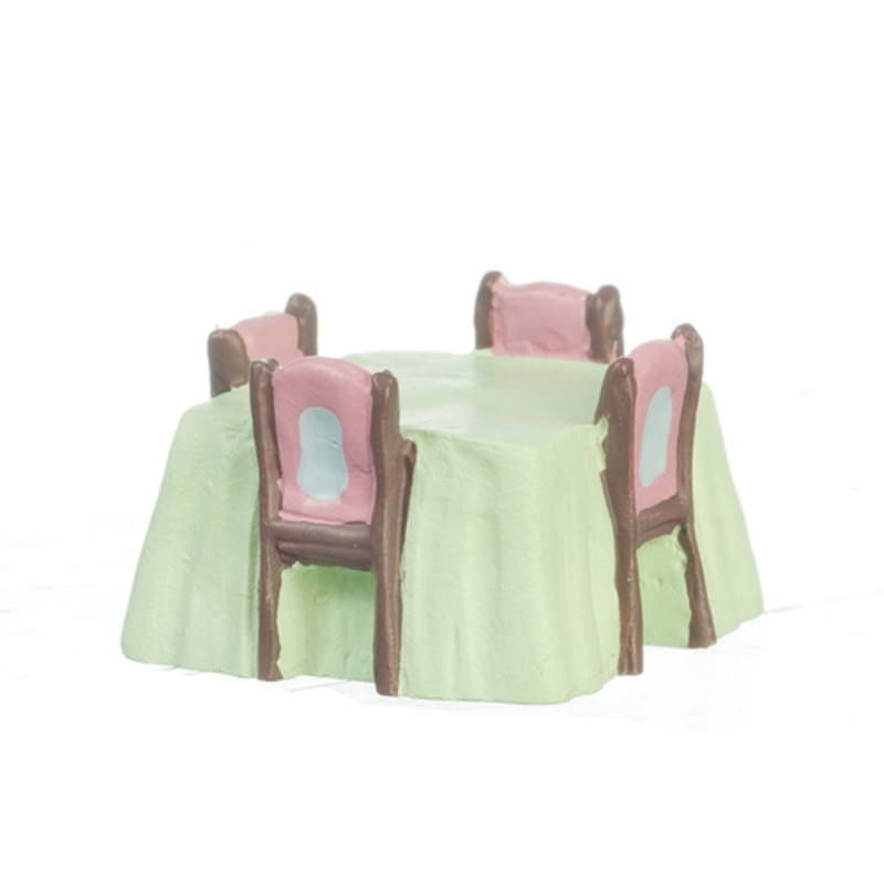 Dolls House Table & Chairs 1:48 Scale 1/4 inch Mini Dining Room Furniture