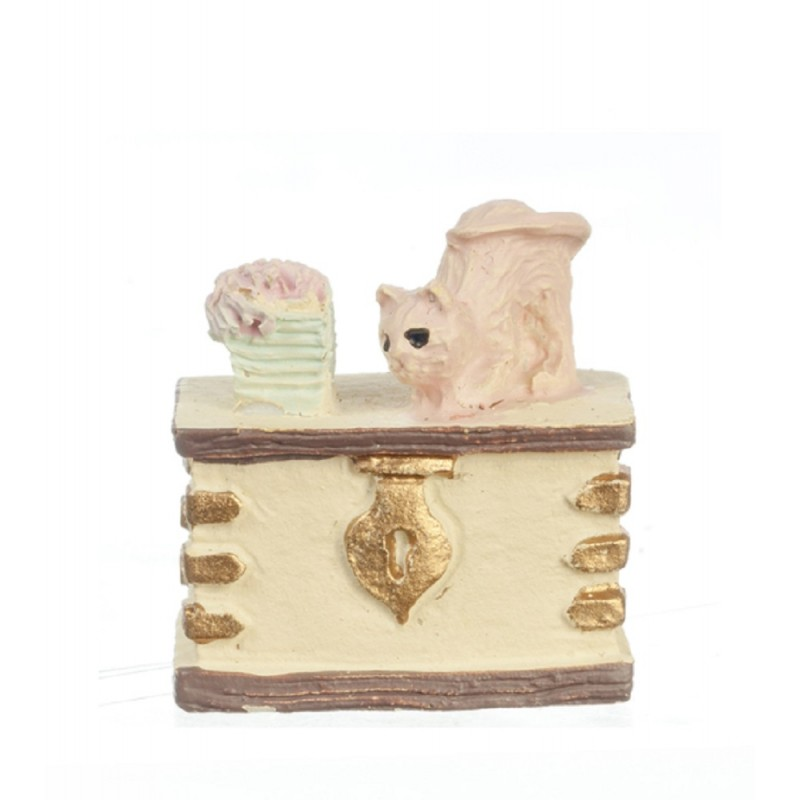 Dolls House Trunk Chest Ottoman 1:48 Scale 1/4 inch Mini Any Room Furniture