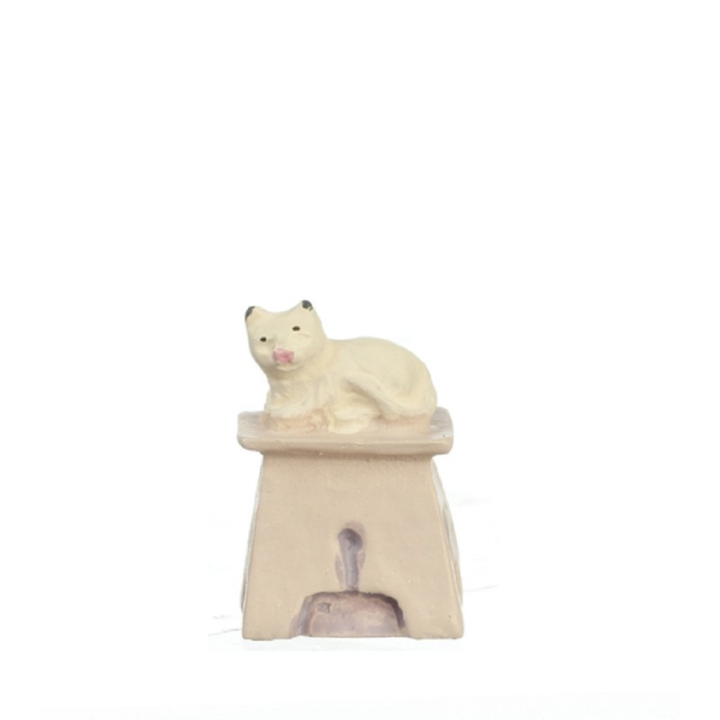 Dollhouse Cat on Stool 1:48 Scale 1/4 inch Mini Any Room Furniture