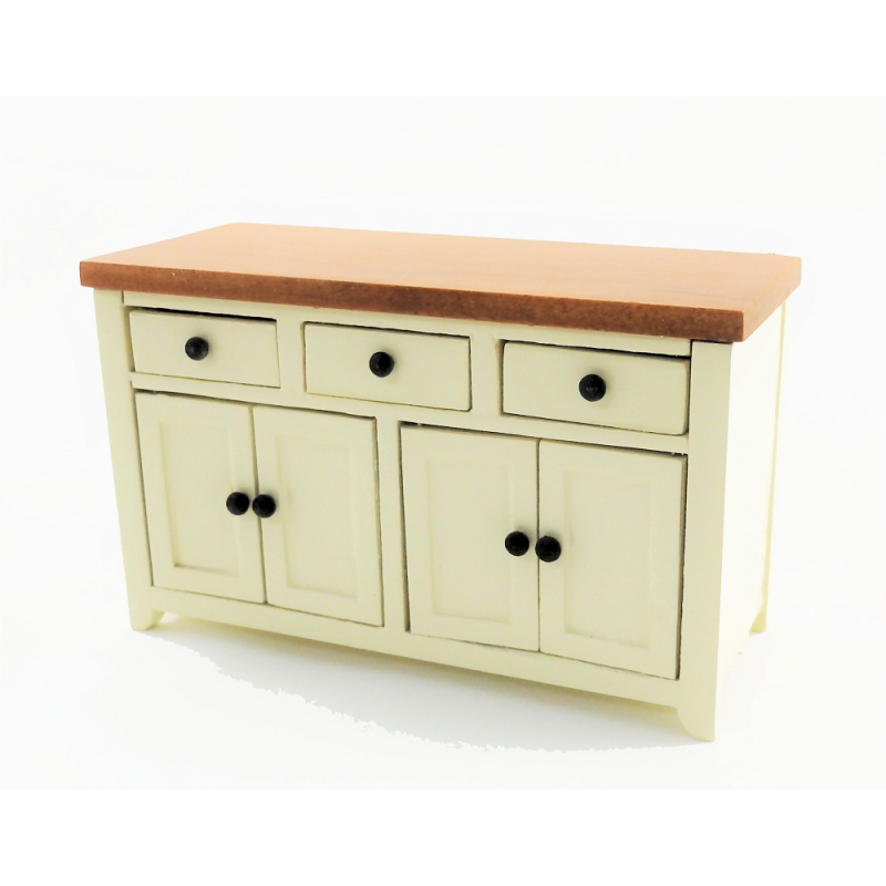 Dolls House Cream & Walnut Sideboard Modern Kitchen Dining Room Furniture