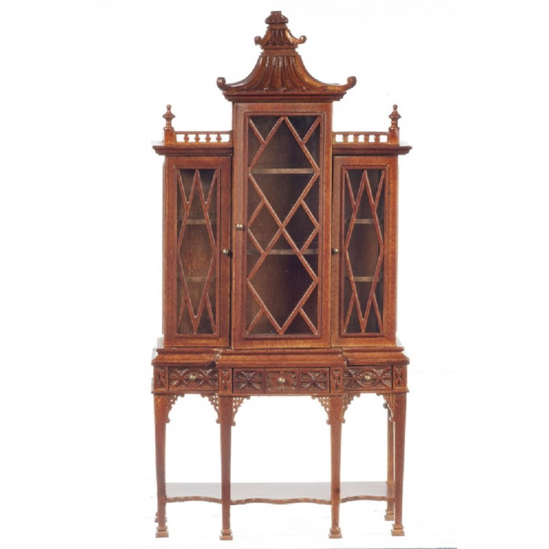 Dolls House George III Chippendale China Cabinet Breakfront Walnut JBM Furniture