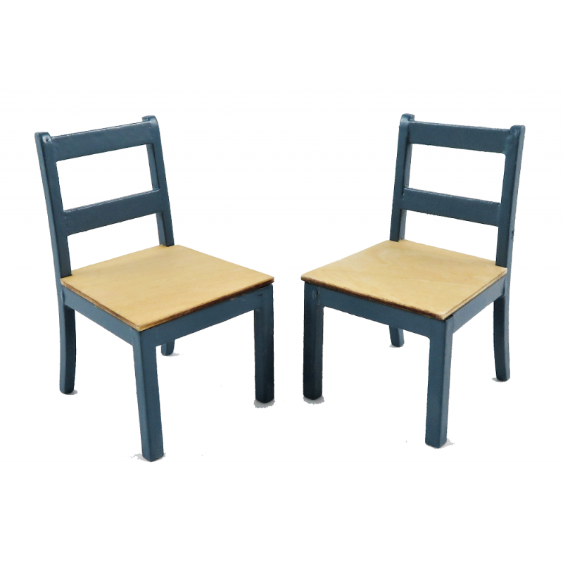 Dolls House 2 Blue & Pine Dining Chairs Modern Miniature Kitchen Furniture