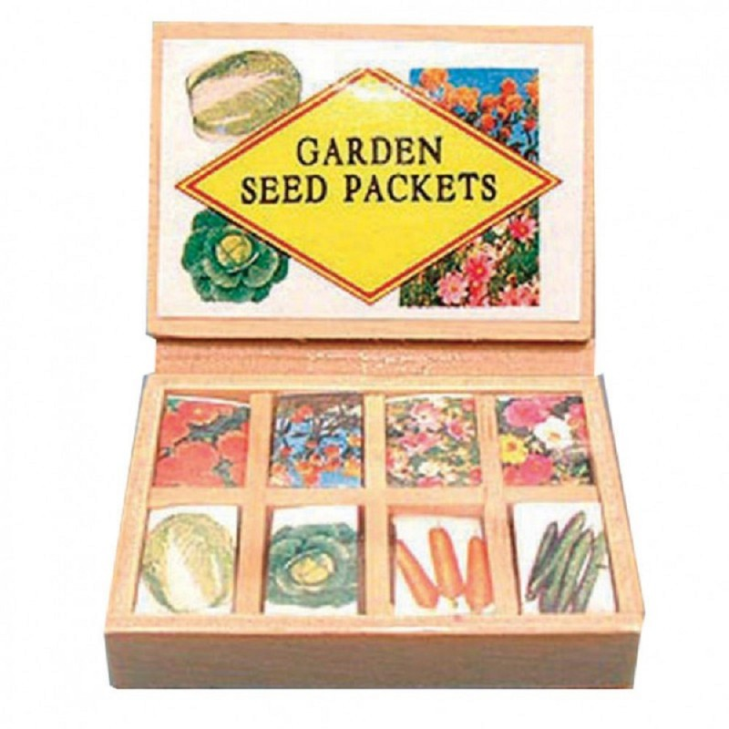 Dolls House Seed Packet Display Box Garden Store Shop Greenhouse Accessory