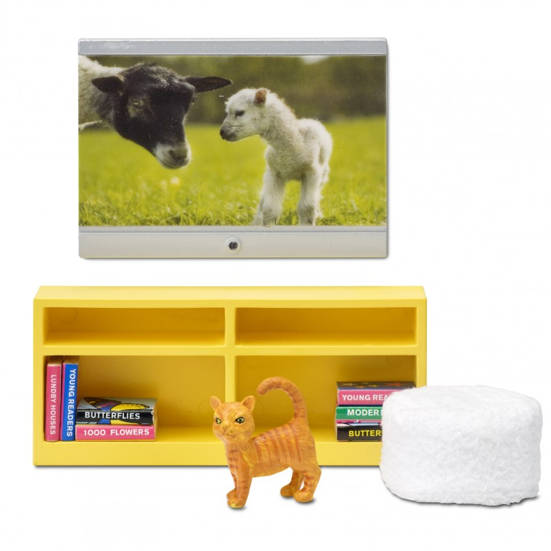 Lundby Smaland 1:18 Dolls House TV Bookcase Pouffe Accessory Set