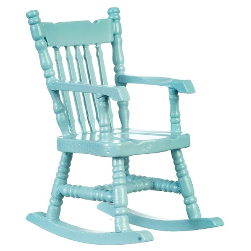 Dolls House Soft Blue Rocking Chair Rocker 1:12 Miniature Nursery Furniture