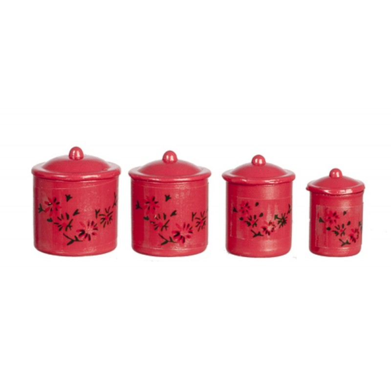 1 12 Kitchen Red Canister Set Storage Jars Classics By Handley House Melody Jane Doll Houses