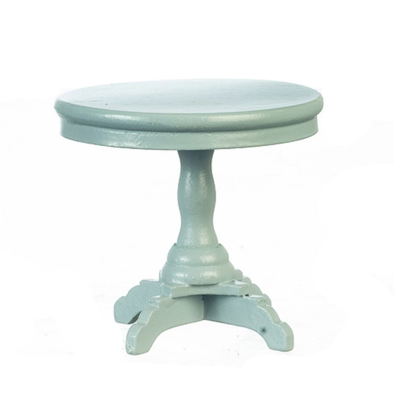 Dolls House Round Grey Pedestal End Side Table Miniature Living Room Furniture