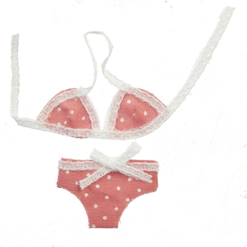 Dolls House Pink Polka Dot Bikini Summer Beach Holiday Accessory