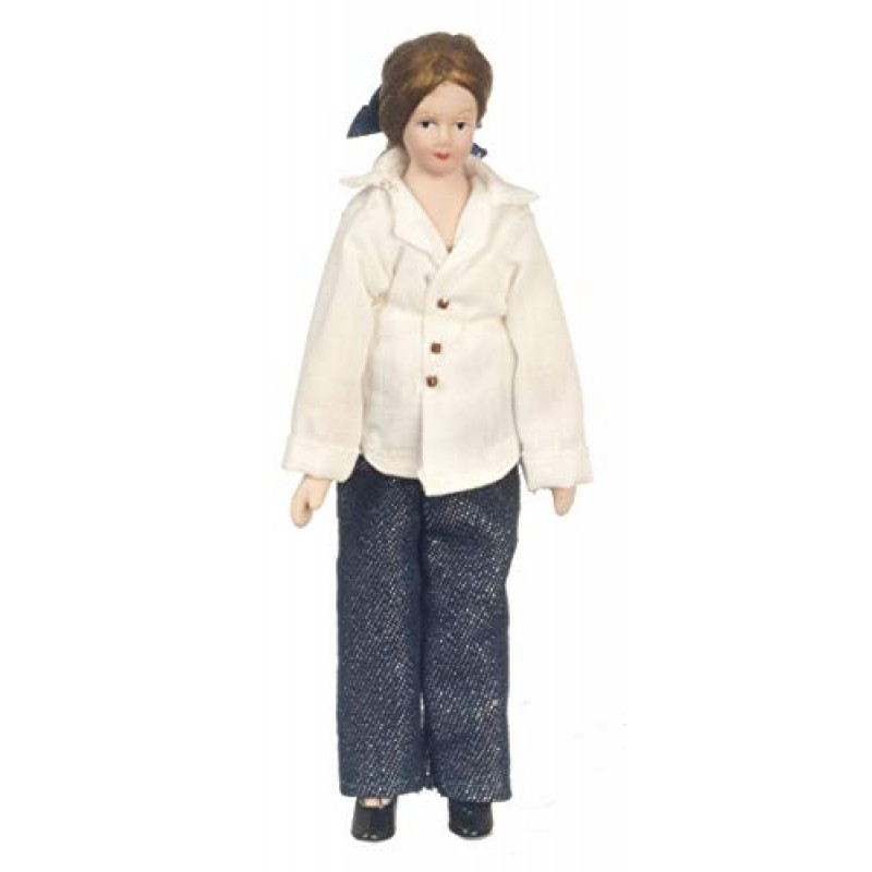 Dolls House Modern Lady Woman Mother in Jeans Miniature 1:12 Porcelain People