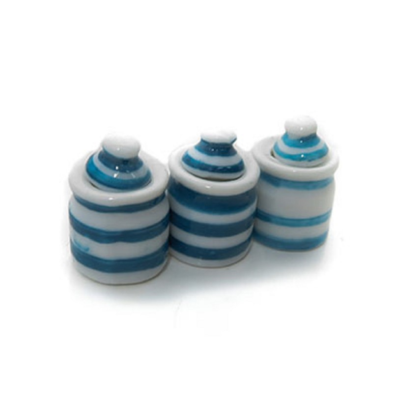 Dolls House Blue & White Stripe Canister Set Storage Jars Kitchen Accessory