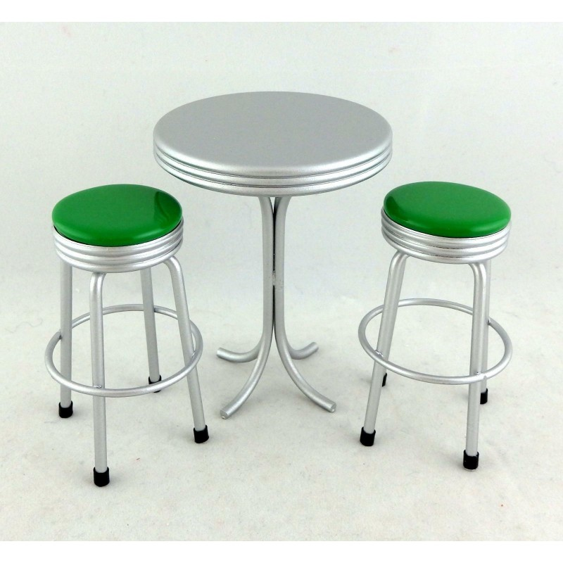 Dolls House 1950s Retro Table & Green Stools Kitchen American Diner Furniture