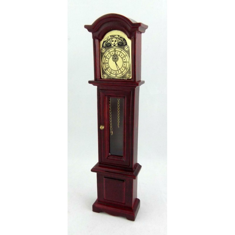 Dolls House Mahogany Slim Grandfather Clock Miniature Hall Furniture