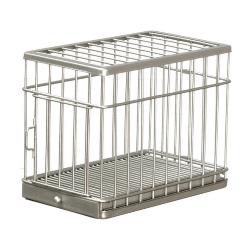 Dolls House Miniature Pet Accessory Galvanised Large Dog Cage
