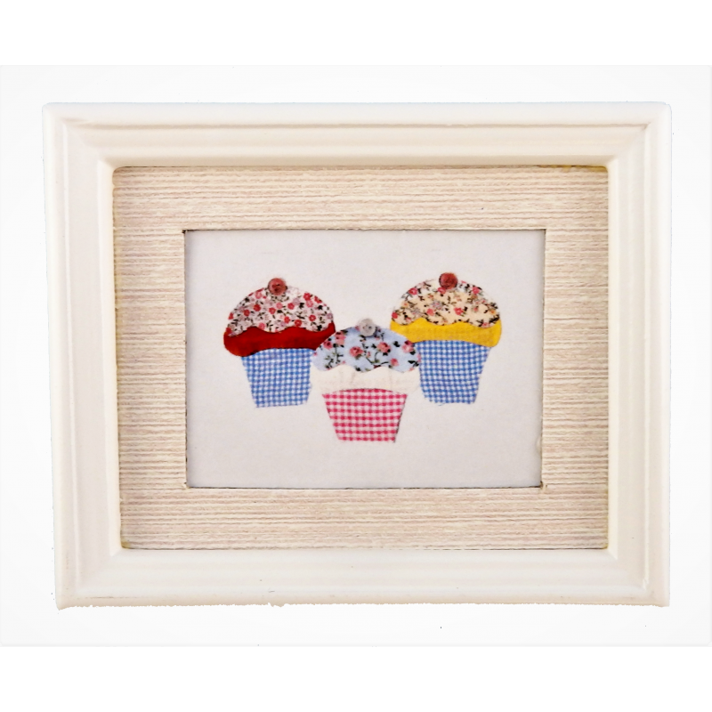 Dolls House Cup Cakes Picture Painting White Frame Miniature 1:12 Accessory