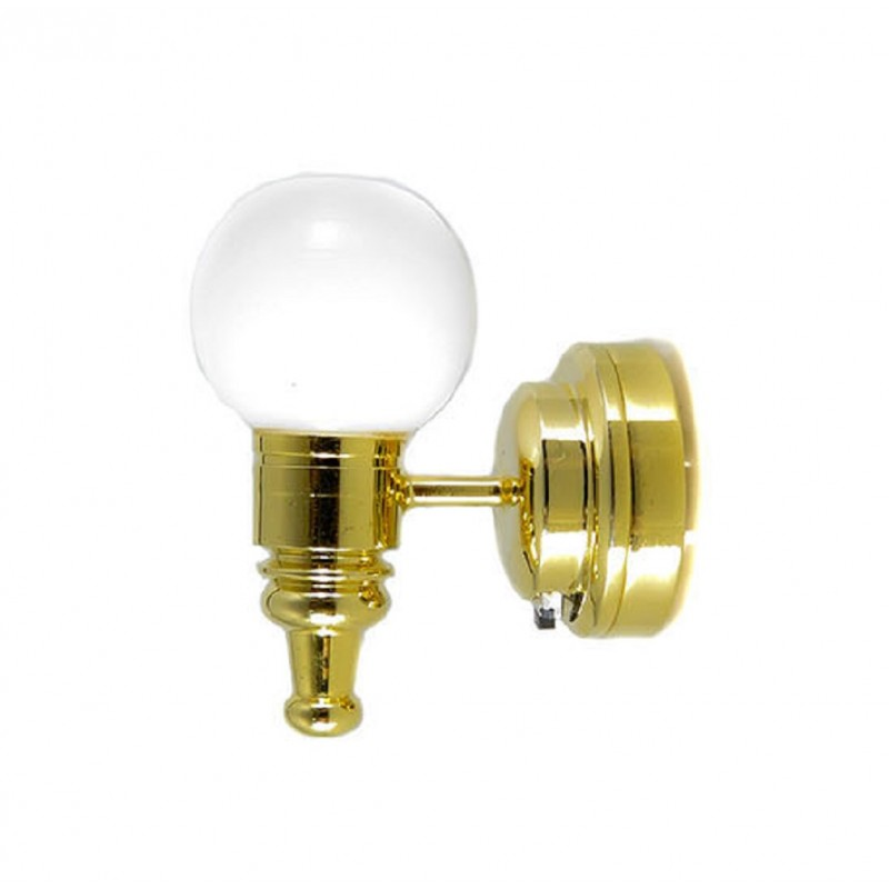 Dolls House Brass Wall Light with White Globe Shade LED Battery Lighting 1:12