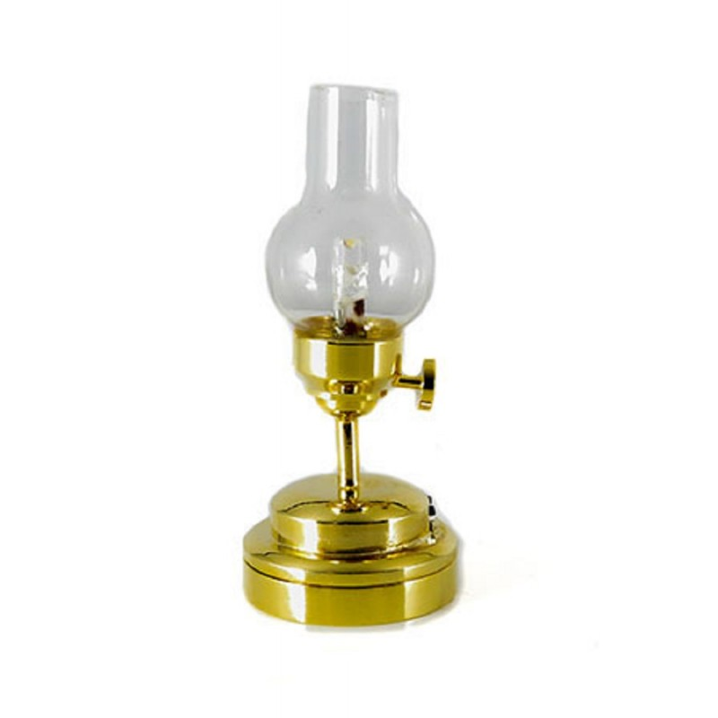 Dolls House Victorian Brass Oil Lamp Clear Glass Shade LED Battery Light 1:12