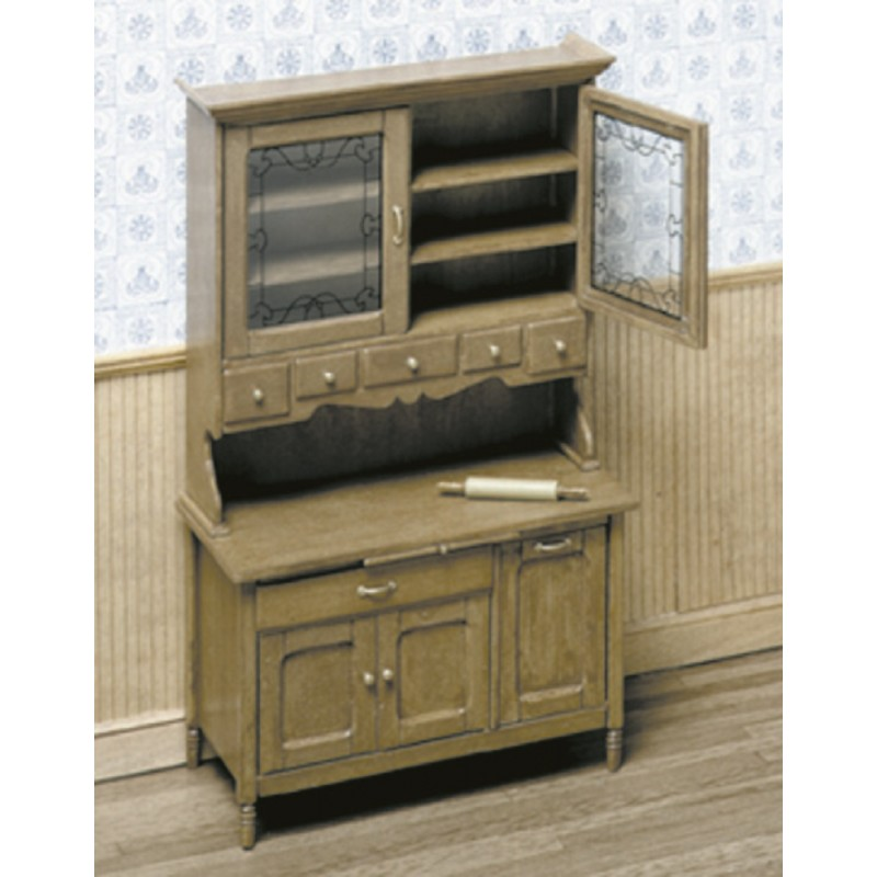 Chrysnbon Dolls House Kitchen Cabinet Dresser Furniture Kit Model Kit F-280