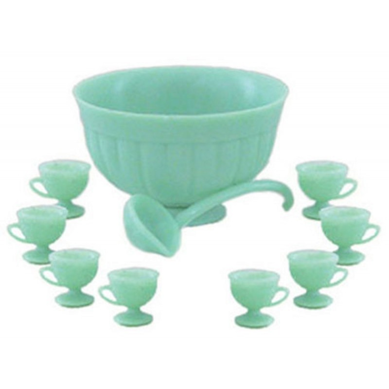 Dolls House Jadite Punch Bowl Set Chrysnbon Dining Room Party Tableware 1:12